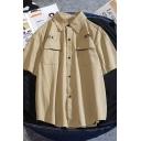 Leisure Men's Short Sleeve Lapel Neck Button Down Letter Printed Patch Pockets Plain Relaxed Shirt