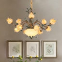 Metal Brass Pendant Chandelier Flower 15 Lights Countryside LED Down Lighting for Bedroom