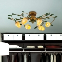 Lily/Tulip Bedroom Ceiling Lamp Vintage Metal 6/8 Bulbs Brass LED Semi Flush Mount Light Fixture