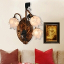 3 Lights Opal Glass Wall Sconce Countryside Brass Flower Living Room Wall Mounted Light