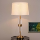1 Head Living Room Desk Lamp Modernism Gold Table Light with Tapered Fabric Shade