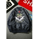 Trendy Cool Boys' Long Sleeve Stand Collar Zipper Front Swan Printed Loose Fit Baseball Jacket