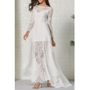Fancy Elegant Ladies' Long Sleeve Boat Neck See-Through Lace Maxi Pleated Evening Flowy Dress in White