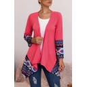 Pretty Women's Long Sleeve Draped-Front Floral Pattern Panel Slim Fit Cardigan in Red