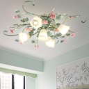 Blue Flower Semi Flush Mount Country Metal 4/5/9 Bulbs Living Room Close to Ceiling Lamp