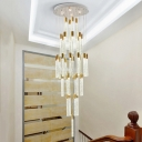 Gold Bar Cluster Pendant Light Minimalist 24 Lights Bubble Crystal LED Suspension Lamp
