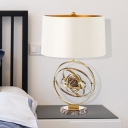 Drum Table Light Modern Fabric 1 Head Nightstand Lamp in White with Round Marble Base