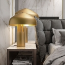 1 Bulb Bedroom Table Lamp Modern Gold Reading Book Light with Domed Metal Shade