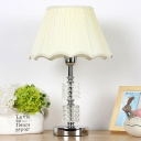 1 Head Flare Desk Light Modernism Fabric Nightstand Lamp in Beige with Braided Trim