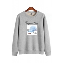 Simple Casual Long Sleeve Crew Neck Letter DEPARM TRUE Hat Pattern Relaxed Graphic Sweatshirt