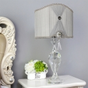 Modern Shaded Nightstand Lamp Fabric 1 Bulb Reading Book Light in Grey for Bedroom