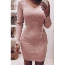 Casual Fashion Ladies' Long Sleeve V-Neck Plain Knit Mini Tight Dress