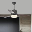 Metal Circle Ceiling Fan Light Modernism Bedroom 3-Blade LED Semi Flush Mount Lamp in Black, 48