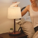 Fabric Barrel Task Light Modernism 1 Bulb Night Table Lamp in Wood/Red Brown with Pull Chain