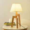 Wide Flare Desk Light Contemporary Fabric 1 Bulb White Table Lamp with Wood Tripod