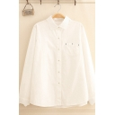 Womens Basic Long Sleeve Lapel Neck Button Down Lace Trim Loose Fit Shirt in White