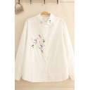 Chic Preppy Girls' Long Sleeve Button Down Rabbit Embroidered Loose Fit Shirt in White