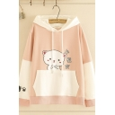 Lovely Preppy Girls Long Sleeve Drawstring Cat Print Chinese Letter Graphic Colorblock Pouch Pocket Loose Cat Ear Hoodie