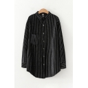 Fashion Girls' Black Long Sleeve Lapel Neck Button Down Stripe Printed Loose Fit Shirt