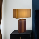 1 Head Shaded Table Light Contemporary Fabric Desk Lamp in Brown for Dining Room