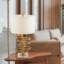Contemporary 1 Head Desk Light White Tapered Drum Night Table Lamp with Fabric Shade