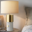Cylinder Desk Lamp Modernist Fabric 1 Head Table Light in White with Marble Base