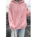 Korean Style Girls' Long Sleeve Drawstring Color Club Letter Oversize Hoodie with Pocket