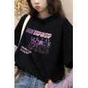 Korean Girls Short Sleeve Round Neck STEP BY STEP Graphic Oversize Black Tee with Purple Mesh T-Shirt