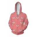 Fashionable Men's Long Sleeve Zipper Front All Over Heart 3D Print Colorblocked Loose Drawstring Hoodie