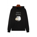 Simple Classic Girls Long Sleeve Letter 100% WOOL Sheep Graphic Pouch Pocket Relaxed Hoodie