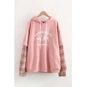 Pretty Fashion Long Sleeve Drawstring Letter WINNING Checker Printed Panel Oversize Hoodie for Women