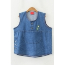 Popular Womens Sleeveless Round Neck Button Detail Floral Embroidered Panel Pocket Relaxed Fit Denim Tank Top in Blue