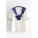 Fashionable Girls Short Sleeve Sailor Collar Bow Tie Paw Cat Patterned Colorblock Relaxed T Shirt