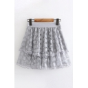 Pretty Girls Elastic Waist Semi-Sheer Mesh All-Over Leaf Printed Tiered Lace Trim Short Pleated A-Line Skirt