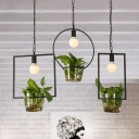 Black Single Head Pendant Lamp Industrial Metal Round/Square/Rectangle Suspension Lighting with Plant Deco