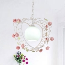 1 Bulb Pendant Light Traditional Heart Shape Metal LED Hanging Lamp in Pink for Bedroom