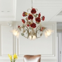 Scalloped Dining Room Pendant Chandelier Retro Metal 3/6/8 Bulbs Beige LED Ceiling Suspension Lamp with Rose Decor