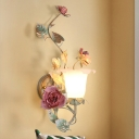 1/2 Lights Opal Glass Wall Sconce Countryside Green Bell Bedroom Wall Mounted Light with Rose Decor