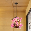 Metal Black Hanging Pendant Light Spiral 1 Light Industrial LED Flower Ceiling Lamp for Restaurant