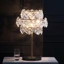Modernism Hexagonal Desk Light Hand-Cut Crystal 6 Bulbs Night Table Lamp in Gold