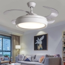 4-Blade Drum Living Room Hanging Fan Lamp Simple Acrylic LED White Semi Flush Light with Wall/Remote Control, 36