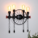 Industrial Wheel Sconce 4 Heads Metallic Wall Mount Pipe Light in Black with Chain
