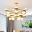 24 Bulbs Living Room Hanging Light Modernist Gold Chandelier with Semicircle White Glass Shade