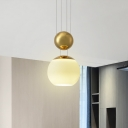 1-Head Dining Room Hanging Lamp Modernism Gold Suspension Light with Globe Cream Glass Shade