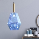 1-Head Dining Room LED Pendant Modernism Brass Hanging Light Fixture with Diamond Blue Glass Shade