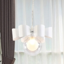 Ball Suspended Pendant Light Modern Clear Glass 1-Light White Hanging Lamp with Bow Design