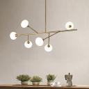 Branch Living Room Chandelier Light Fixture Metal 6 Heads Modern Hanging Ceiling Lamp in Brass