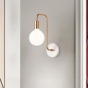 Minimalist 1 Bulb Wall Lighting with White Glass Shade Gold Global Wall Mount Sconce