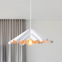 White Origami Cone Suspension Light Modern Nordic 1 Bulb Iron Hanging Pendant Lamp for Bedroom