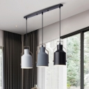 Milk Can Living Room Ceiling Light Iron 3 Lights Modern Nordic Cluster Pendant Lamp in Grey